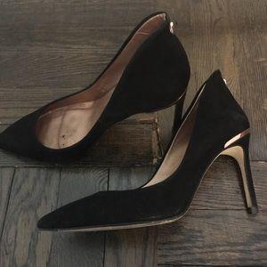 Ted Baker black suede pointed toe heels